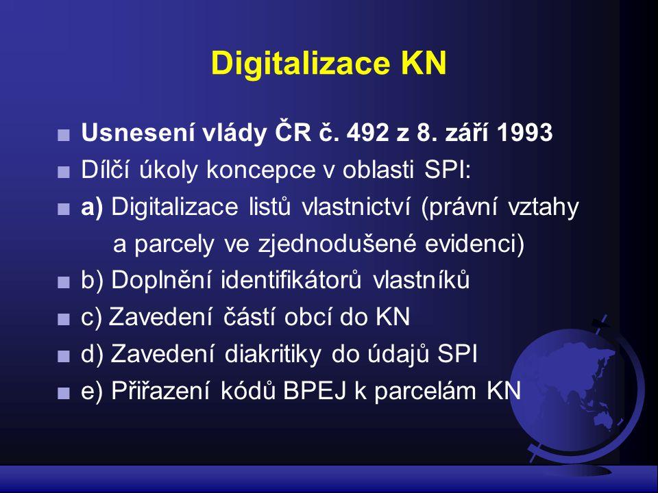 Digitalizace KN ■Usnesení vlády ČR č. 492 z 8. září 1993 ■Dílčí úkoly koncepce v oblasti SPI: ■a) Digitalizace listů vlastnictví (právní vztahy a parc