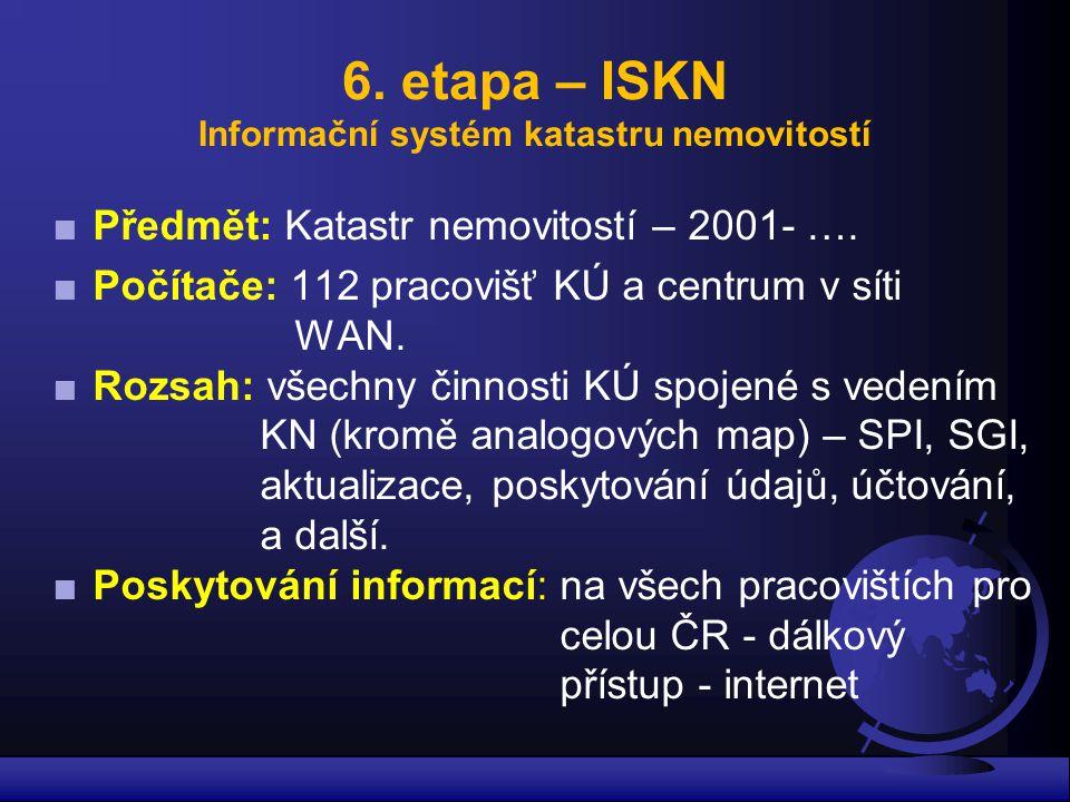 6. etapa – ISKN Informační systém katastru nemovitostí ■Předmět: Katastr nemovitostí – 2001- …. ■Počítače: 112 pracovišť KÚ a centrum v síti WAN. ■Roz
