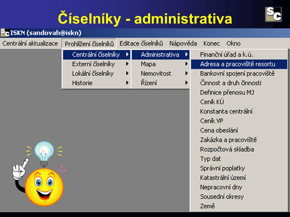 Číselníky - administrativa