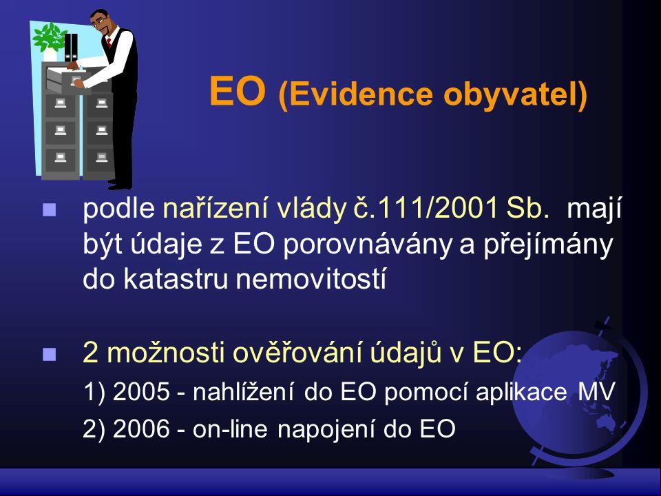 EO (Evidence obyvatel) podle nařízení vlády č.111/2001 Sb. mají být údaje z EO porovnávány a přejímány do katastru nemovitostí 2 možnosti ověřování úd