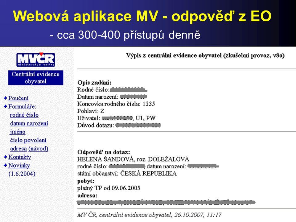 Webová aplikace MV - odpověď z EO - cca 300-400 přístupů denně