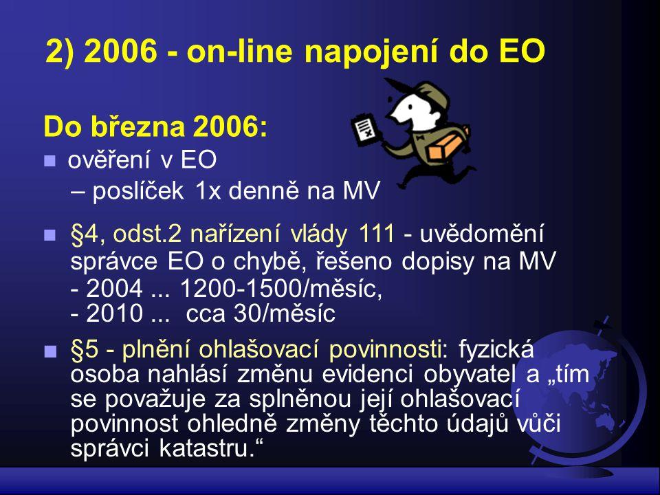2) 2006 - on-line napojení do EO Do března 2006: ověření v EO – poslíček 1x denně na MV §4, odst.2 nařízení vlády 111 - uvědomění správce EO o chybě,