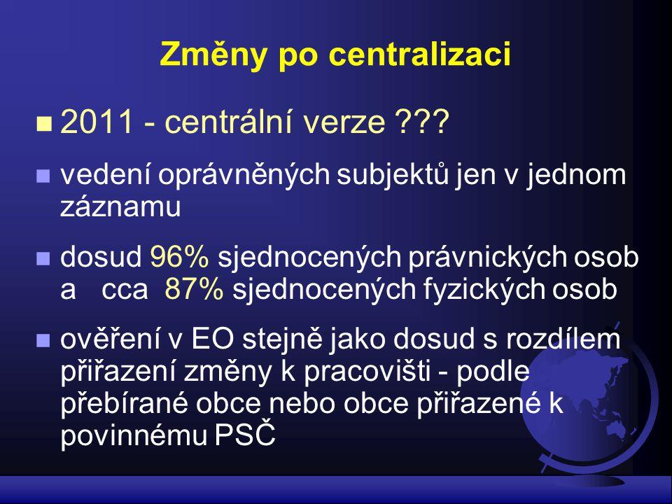 Změny po centralizaci 2011 - centrální verze ??? vedení oprávněných subjektů jen v jednom záznamu dosud 96% sjednocených právnických osob a cca 87% sj