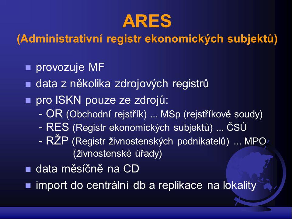 ARES (Administrativní registr ekonomických subjektů) n provozuje MF n data z několika zdrojových registrů n pro ISKN pouze ze zdrojů: - OR (Obchodní r