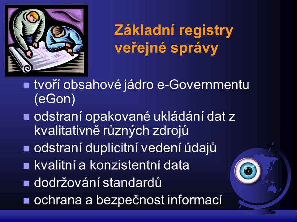 Základní registry veřejné správy n tvoří obsahové jádro e-Governmentu (eGon) n odstraní opakované ukládání dat z kvalitativně různých zdrojů n odstran