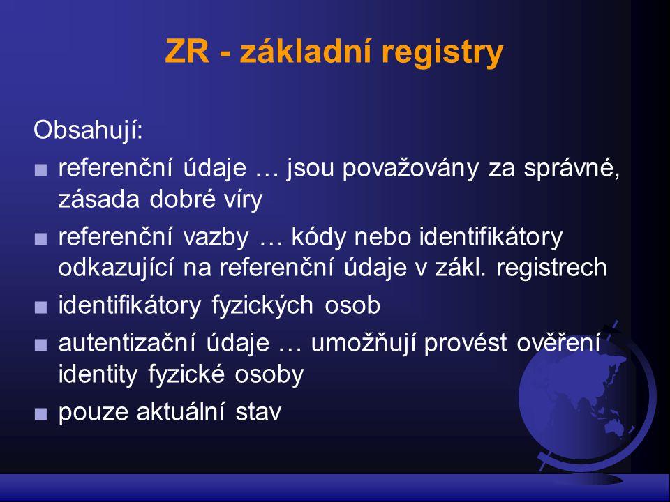 ZR - základní registry Obsahují: ■ referenční údaje … jsou považovány za správné, zásada dobré víry ■ referenční vazby … kódy nebo identifikátory odka