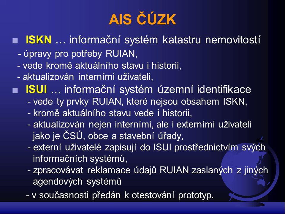 AIS ČÚZK ■ISKN … informační systém katastru nemovitostí - úpravy pro potřeby RUIAN, - vede kromě aktuálního stavu i historii, - aktualizován interními