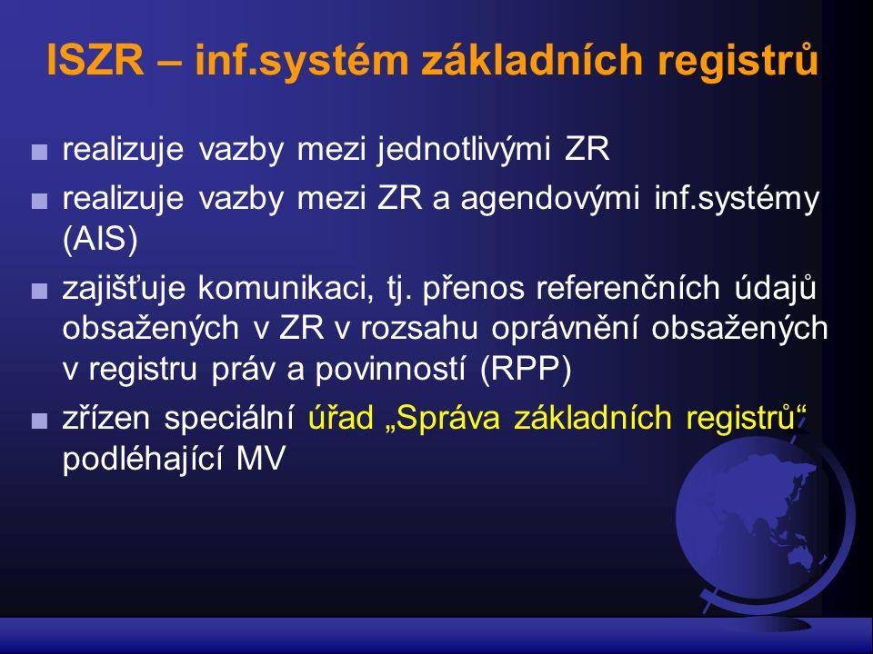 ISZR – inf.systém základních registrů ■ realizuje vazby mezi jednotlivými ZR ■ realizuje vazby mezi ZR a agendovými inf.systémy (AIS) ■ zajišťuje komu