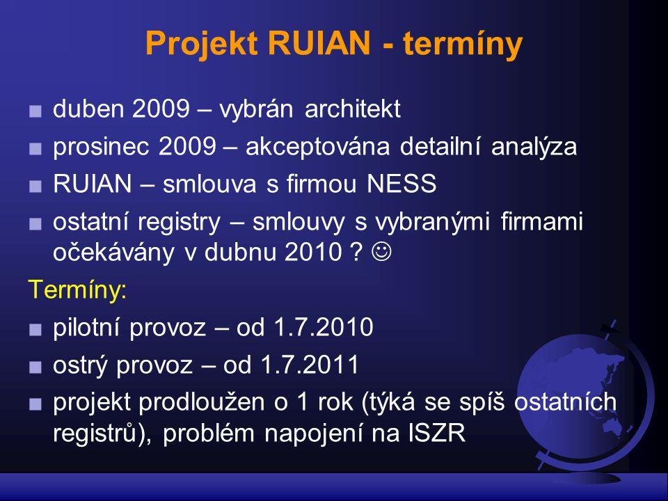 Projekt RUIAN - termíny ■duben 2009 – vybrán architekt ■prosinec 2009 – akceptována detailní analýza ■RUIAN – smlouva s firmou NESS ■ostatní registry