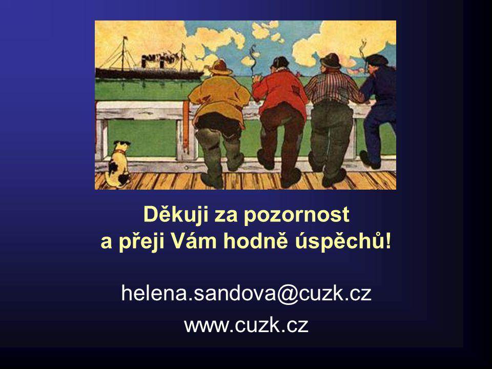 Děkuji za pozornost a přeji Vám hodně úspěchů! helena.sandova@cuzk.cz www.cuzk.cz