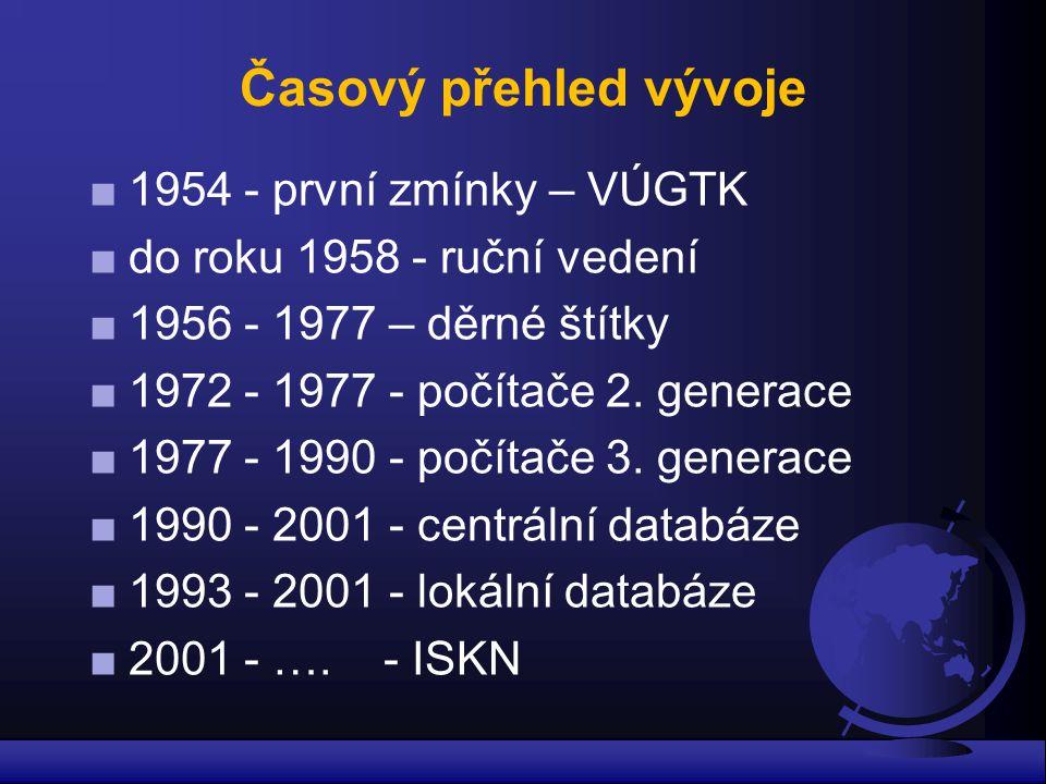 Časový přehled vývoje ■ 1954 - první zmínky – VÚGTK ■ do roku 1958 - ruční vedení ■ 1956 - 1977 – děrné štítky ■ 1972 - 1977 - počítače 2. generace ■