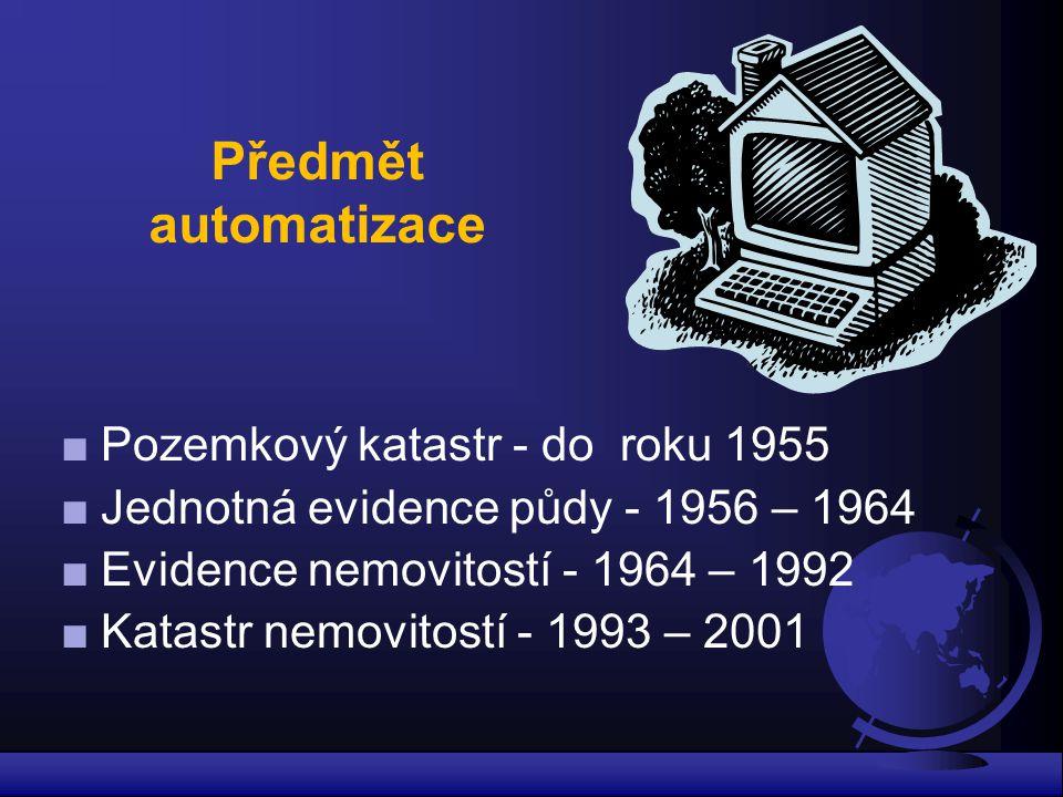 Předmět automatizace ■Pozemkový katastr - do roku 1955 ■Jednotná evidence půdy - 1956 – 1964 ■Evidence nemovitostí - 1964 – 1992 ■Katastr nemovitostí