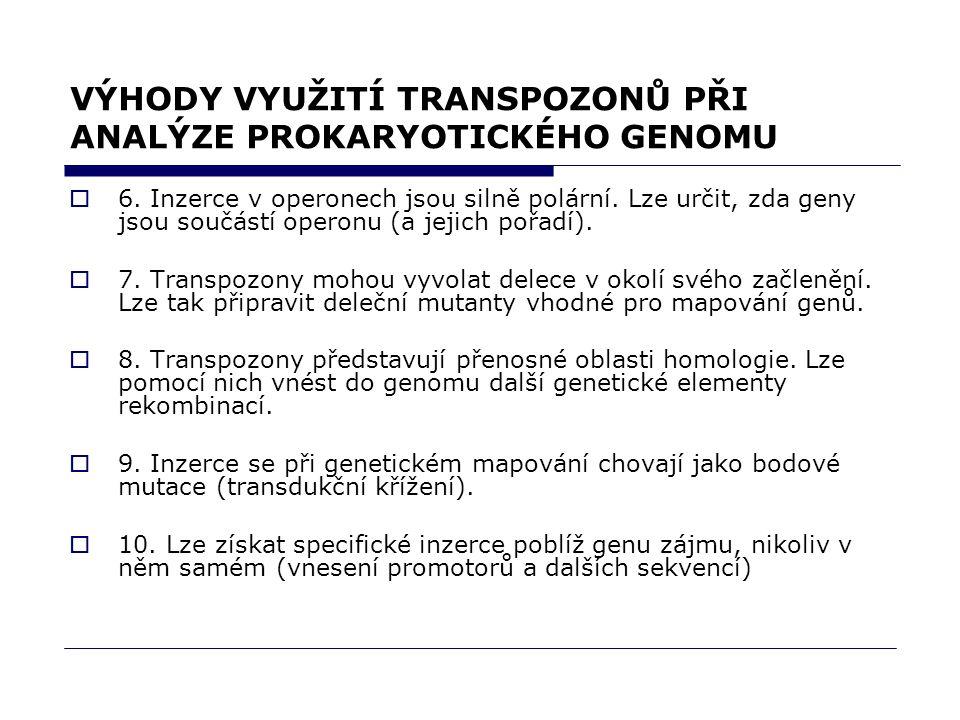 VÝHODY VYUŽITÍ TRANSPOZONŮ PŘI ANALÝZE PROKARYOTICKÉHO GENOMU  6. Inzerce v operonech jsou silně polární. Lze určit, zda geny jsou součástí operonu (