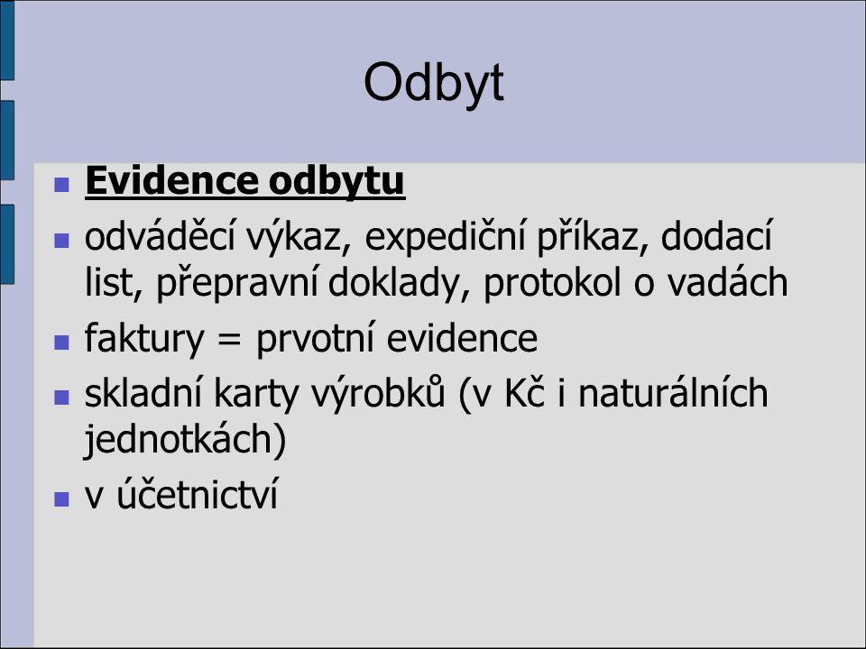 Odbyt Evidence odbytu odváděcí výkaz, expediční příkaz, dodací list, přepravní doklady, protokol o vadách faktury = prvotní evidence skladní karty výrobků (v Kč i naturálních jednotkách) v účetnictví