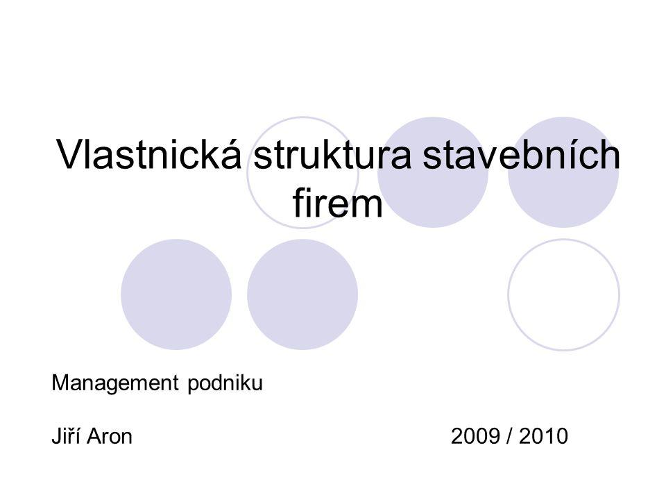 MPO 2009/2010Aron Jiří2 Úvod Stavební firmy v ČR Vlastnické struktury Historie firem - vlastníků Stavební firmy v ČR a globalizace