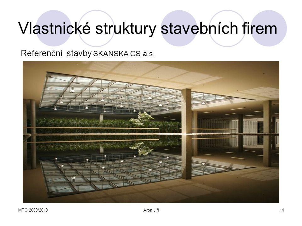 MPO 2009/2010Aron Jiří15 Vlastnické struktury stavebních firem Metrostav a.s.