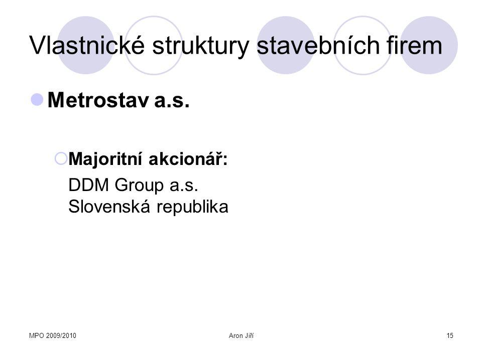 MPO 2009/2010Aron Jiří15 Vlastnické struktury stavebních firem Metrostav a.s.  Majoritní akcionář: DDM Group a.s. Slovenská republika