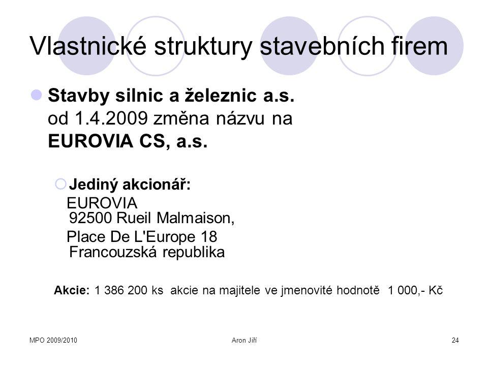 MPO 2009/2010Aron Jiří24 Vlastnické struktury stavebních firem Stavby silnic a železnic a.s. od 1.4.2009 změna názvu na EUROVIA CS, a.s.  Jediný akci