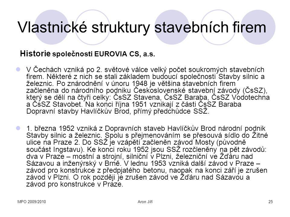 MPO 2009/2010Aron Jiří25 Vlastnické struktury stavebních firem V Čechách vzniká po 2. světové válce velký počet soukromých stavebních firem. Některé z