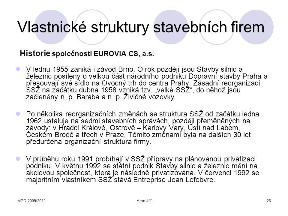 MPO 2009/2010Aron Jiří27 Vlastnické struktury stavebních firem Pokračuje restrukturalizace podniku, dochází k sloučení plzeňských poboček do jednoho závodu, v červenci 1995 je založen podnik Stavby železnic, v říjnu získávají SSŽ společnost Silnice Brno, s.r.o.