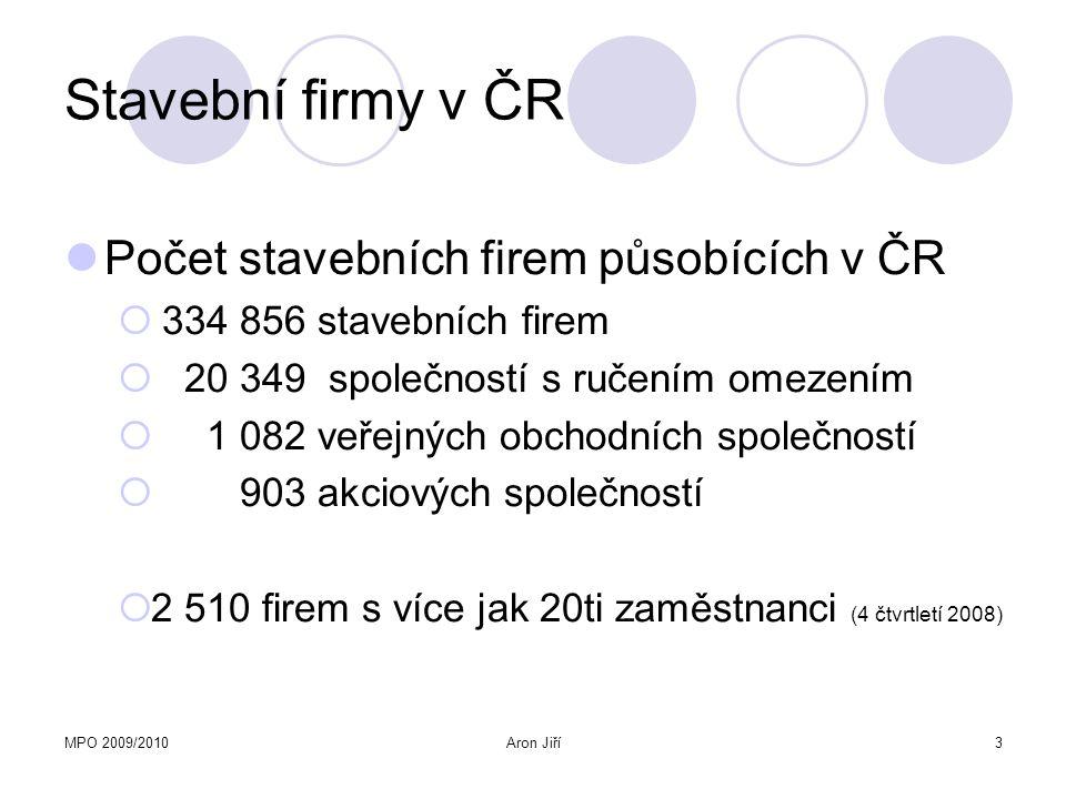 MPO 2009/2010Aron Jiří3 Stavební firmy v ČR Počet stavebních firem působících v ČR  334 856 stavebních firem  20 349 společností s ručením omezením
