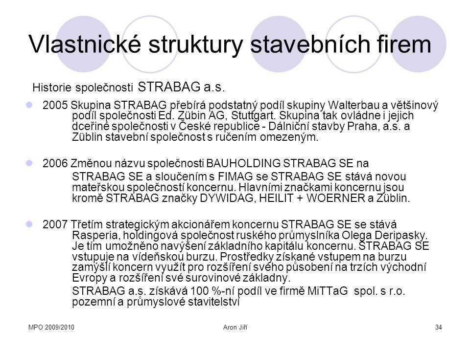 MPO 2009/2010Aron Jiří34 Vlastnické struktury stavebních firem 2005 Skupina STRABAG přebírá podstatný podíl skupiny Walterbau a většinový podíl společ