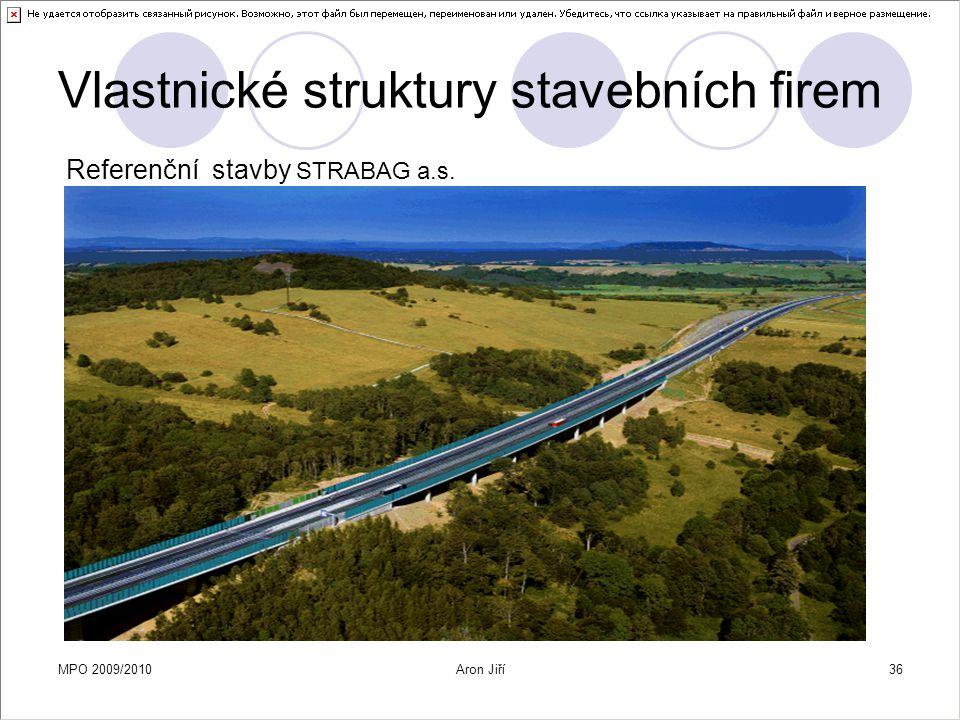 MPO 2009/2010Aron Jiří36 Vlastnické struktury stavebních firem Referenční stavby STRABAG a.s.