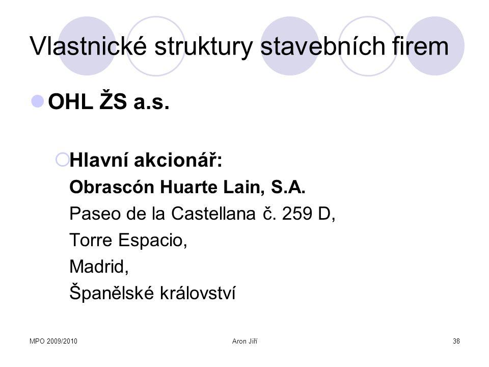 MPO 2009/2010Aron Jiří39 Vlastnické struktury stavebních firem Akciová společnost OHL ŽS, a.s.