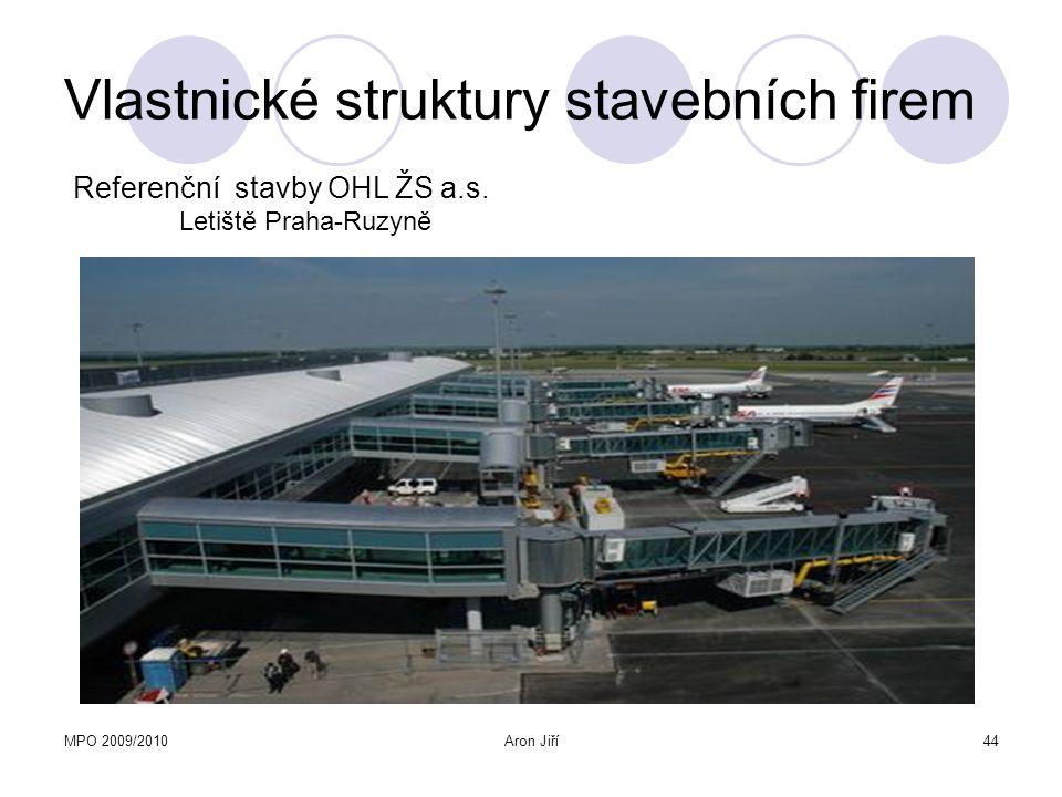 MPO 2009/2010Aron Jiří44 Vlastnické struktury stavebních firem Referenční stavby OHL ŽS a.s. Letiště Praha-Ruzyně