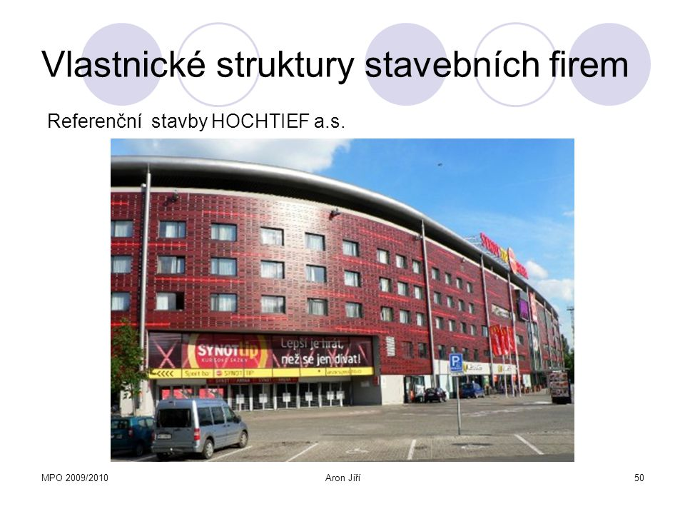 MPO 2009/2010Aron Jiří50 Vlastnické struktury stavebních firem Referenční stavby HOCHTIEF a.s.