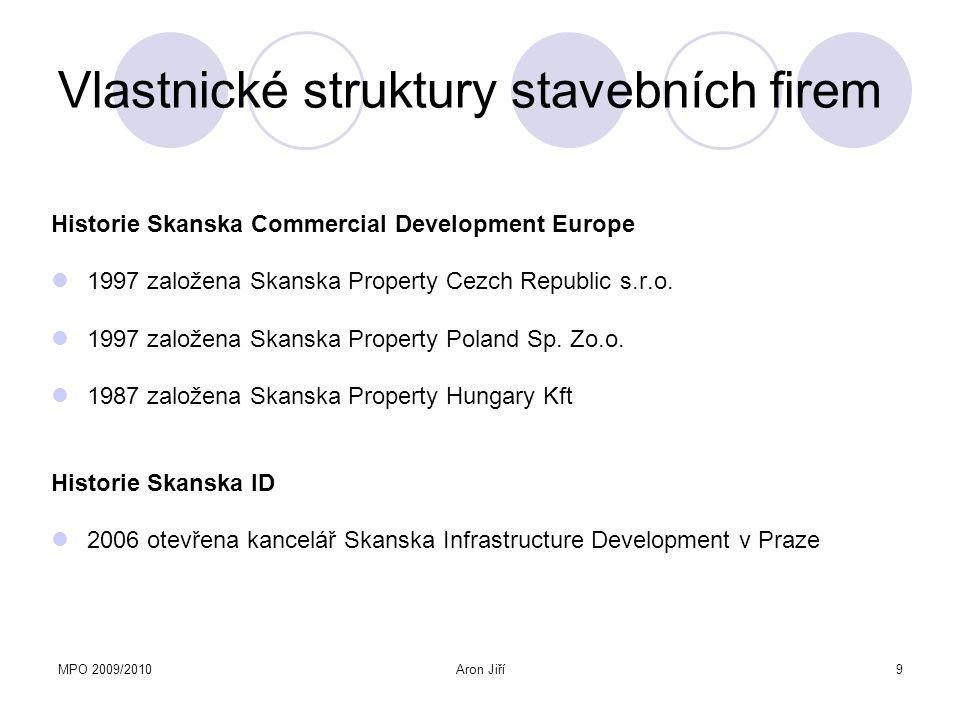 MPO 2009/2010Aron Jiří9 Vlastnické struktury stavebních firem Historie Skanska Commercial Development Europe 1997 založena Skanska Property Cezch Repu