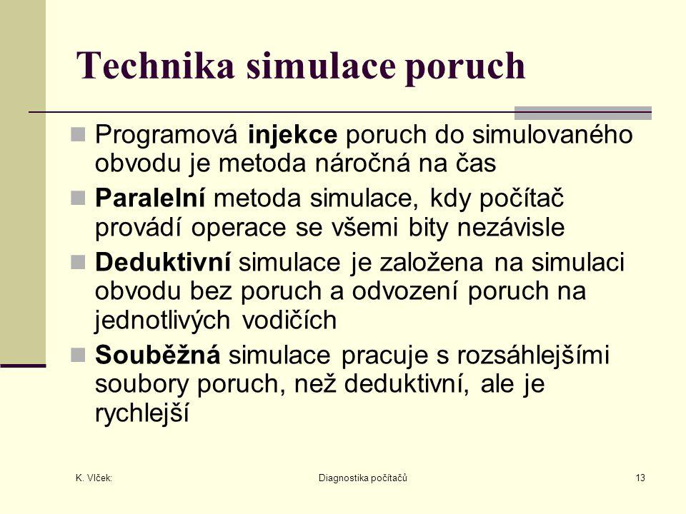 K. Vlček: Diagnostika počítačů13 Technika simulace poruch Programová injekce poruch do simulovaného obvodu je metoda náročná na čas Paralelní metoda s