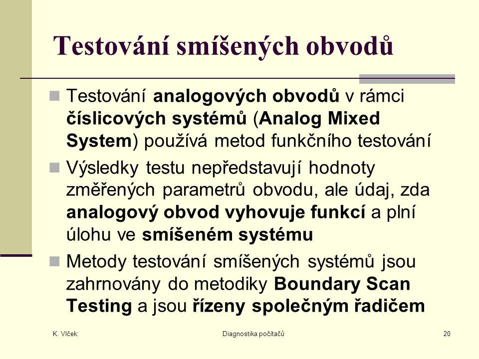 K. Vlček: Diagnostika počítačů20 Testování smíšených obvodů Testování analogových obvodů v rámci číslicových systémů (Analog Mixed System) používá met