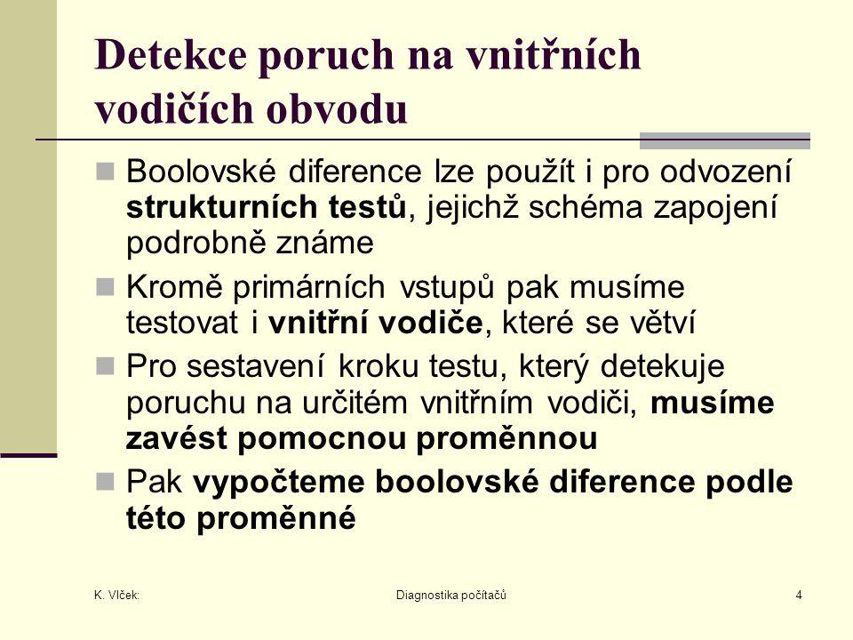 K. Vlček: Diagnostika počítačů4 Detekce poruch na vnitřních vodičích obvodu Boolovské diference lze použít i pro odvození strukturních testů, jejichž