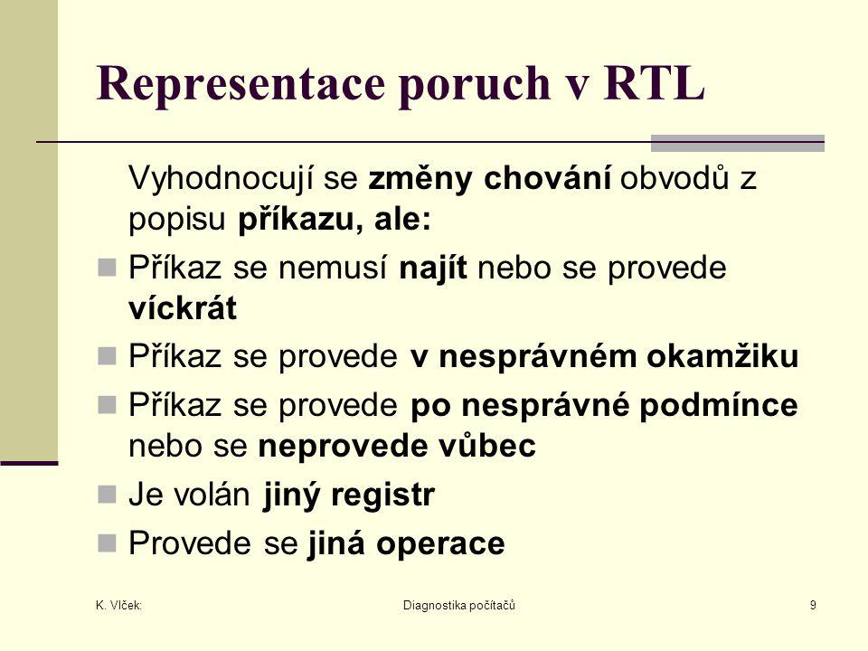 K. Vlček: Diagnostika počítačů9 Representace poruch v RTL Vyhodnocují se změny chování obvodů z popisu příkazu, ale: Příkaz se nemusí najít nebo se pr