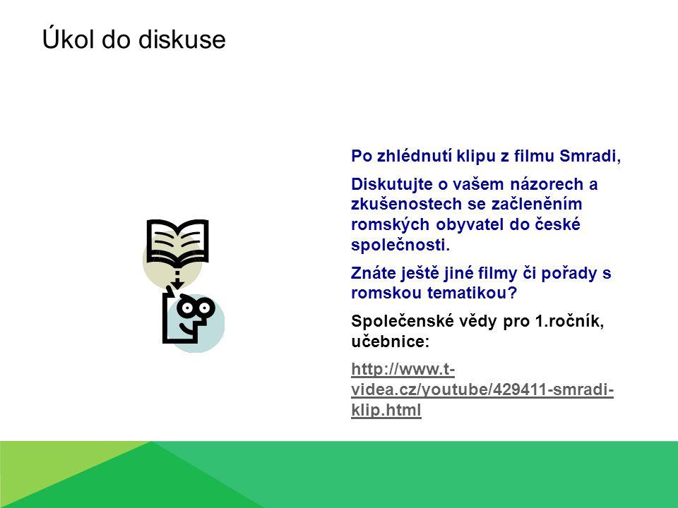 Úkol do diskuse Po zhlédnutí klipu z filmu Smradi, Diskutujte o vašem názorech a zkušenostech se začleněním romských obyvatel do české společnosti.