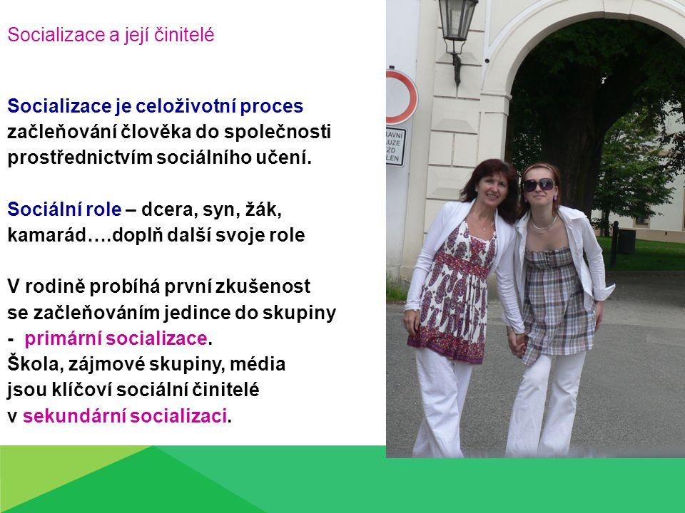 Socializace a její činitelé Socializace je celoživotní proces začleňování člověka do společnosti prostřednictvím sociálního učení.
