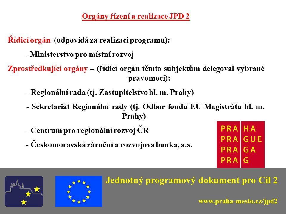 Jednotný programový dokument pro Cíl 2 Orgány řízení a realizace JPD 2 Řídicí orgán (odpovídá za realizaci programu): - Ministerstvo pro místní rozvoj Zprostředkující orgány – (řídicí orgán těmto subjektům delegoval vybrané pravomoci): - Regionální rada (tj.