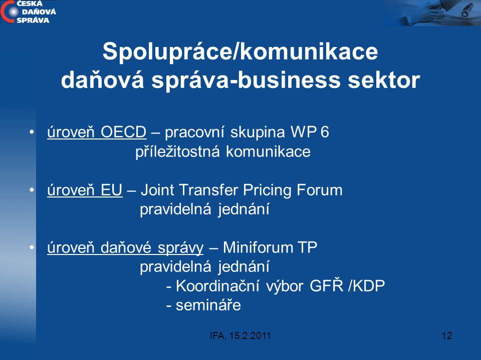 IFA, 15.2.201112 Spolupráce/komunikace daňová správa-business sektor úroveň OECD – pracovní skupina WP 6 příležitostná komunikace úroveň EU – Joint Tr