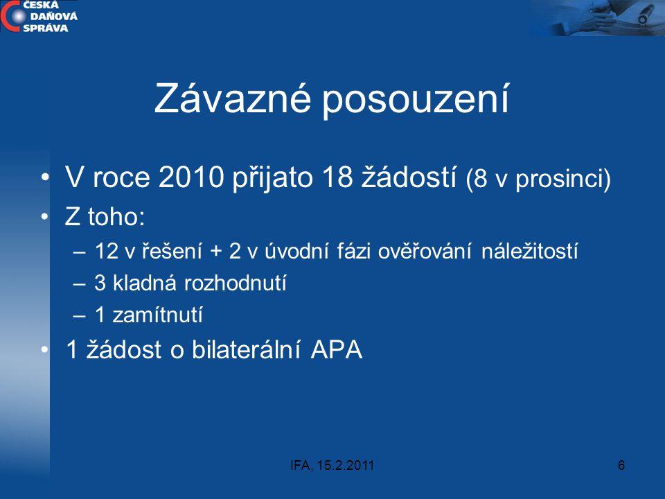 IFA, 15.2.20116 Závazné posouzení V roce 2010 přijato 18 žádostí (8 v prosinci) Z toho: –12 v řešení + 2 v úvodní fázi ověřování náležitostí –3 kladná