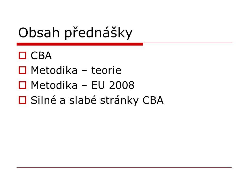 Obsah přednášky  CBA  Metodika – teorie  Metodika – EU 2008  Silné a slabé stránky CBA