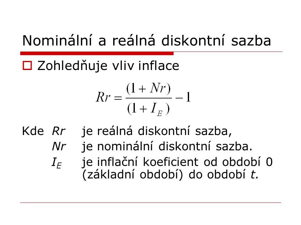 Nominální a reálná diskontní sazba  Zohledňuje vliv inflace Kde Rr je reálná diskontní sazba, Nrje nominální diskontní sazba. I E je inflační koefici