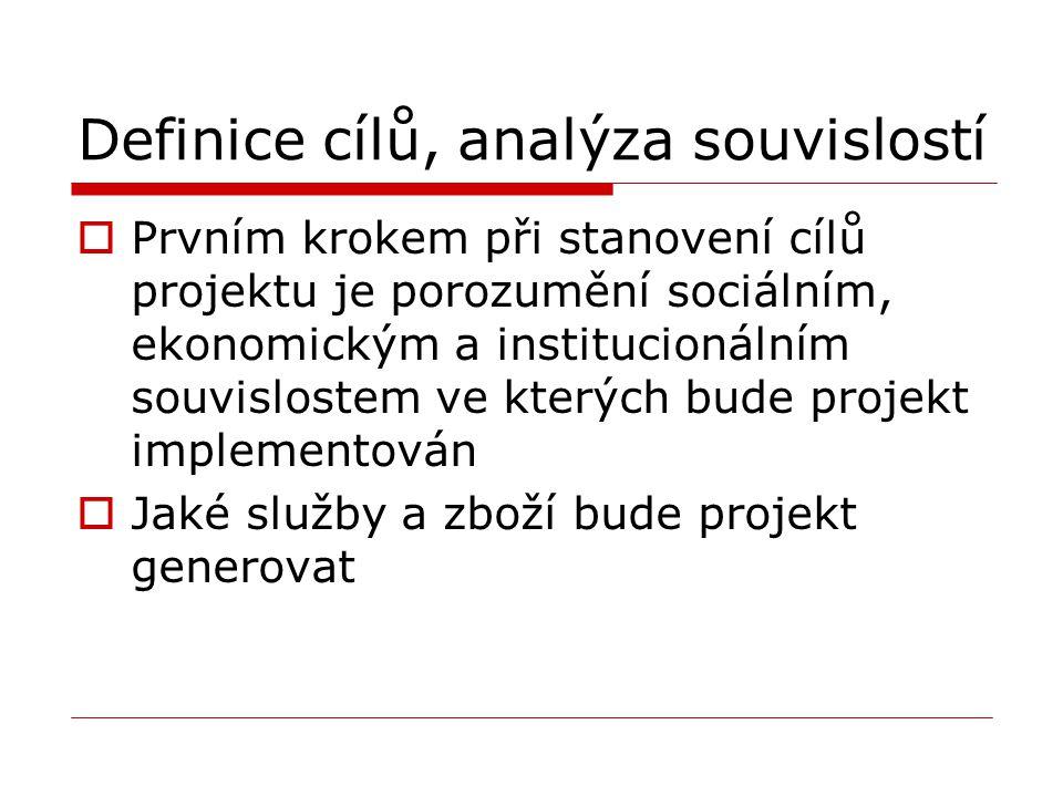 Definice cílů, analýza souvislostí  Prvním krokem při stanovení cílů projektu je porozumění sociálním, ekonomickým a institucionálním souvislostem ve