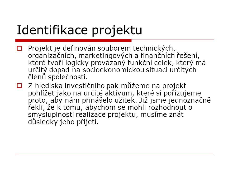Identifikace projektu  Projekt je definován souborem technických, organizačních, marketingových a finančních řešení, které tvoří logicky provázaný fu