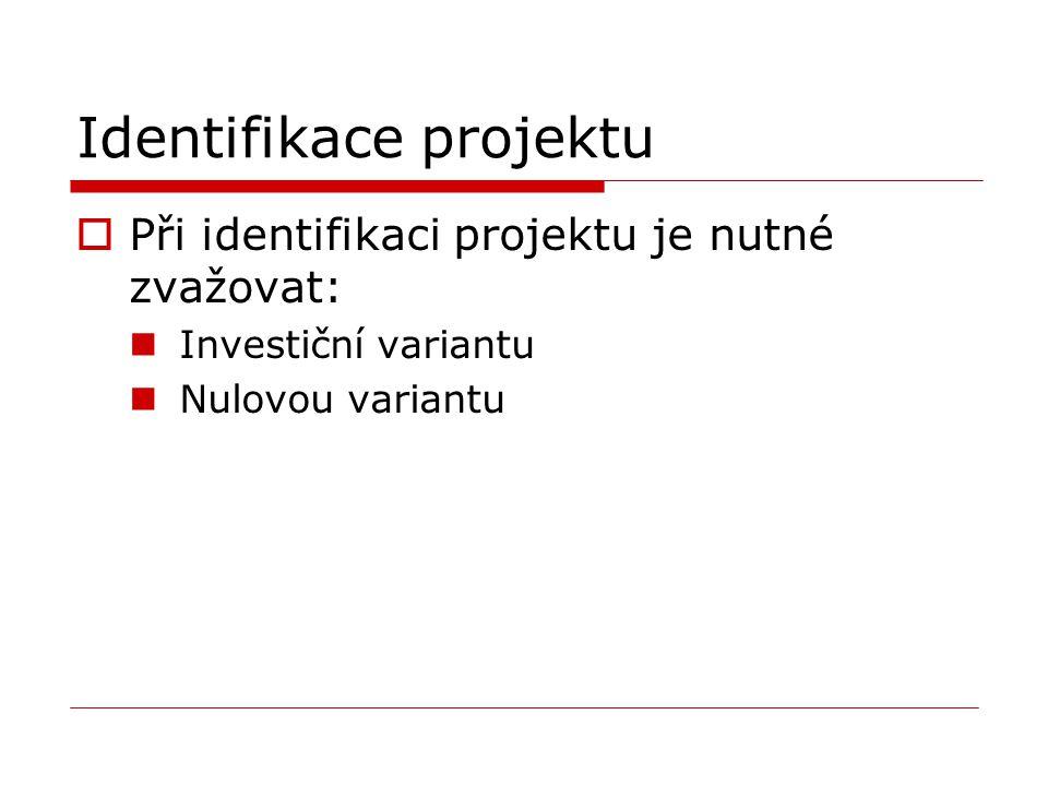 Identifikace projektu  Při identifikaci projektu je nutné zvažovat: Investiční variantu Nulovou variantu