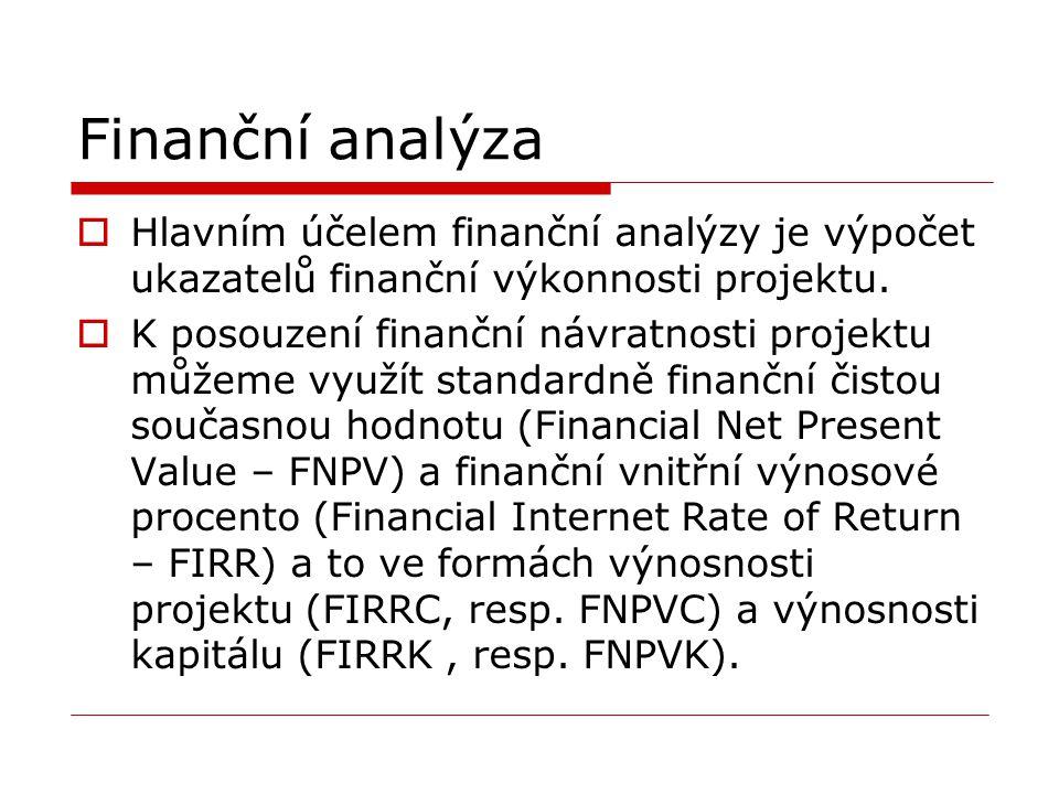 Finanční analýza  Hlavním účelem finanční analýzy je výpočet ukazatelů finanční výkonnosti projektu.  K posouzení finanční návratnosti projektu může