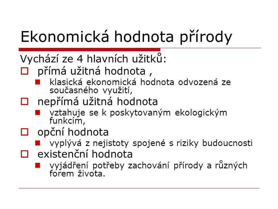 Ekonomická hodnota přírody Vychází ze 4 hlavních užitků:  přímá užitná hodnota, klasická ekonomická hodnota odvozená ze současného využití,  nepřímá