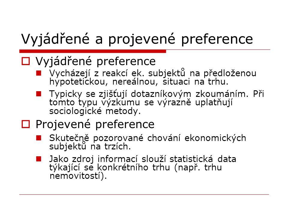 Vyjádřené a projevené preference  Vyjádřené preference Vycházejí z reakcí ek. subjektů na předloženou hypotetickou, nereálnou, situaci na trhu. Typic