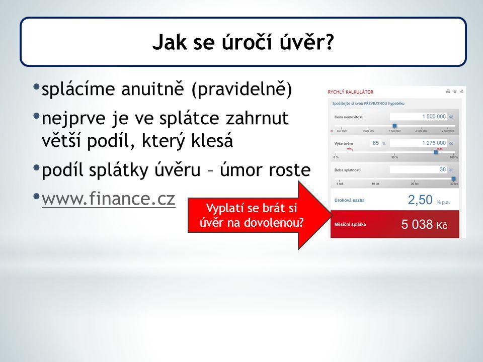 splácíme anuitně (pravidelně) nejprve je ve splátce zahrnut větší podíl, který klesá podíl splátky úvěru – úmor roste www.finance.cz Jak se úročí úvěr