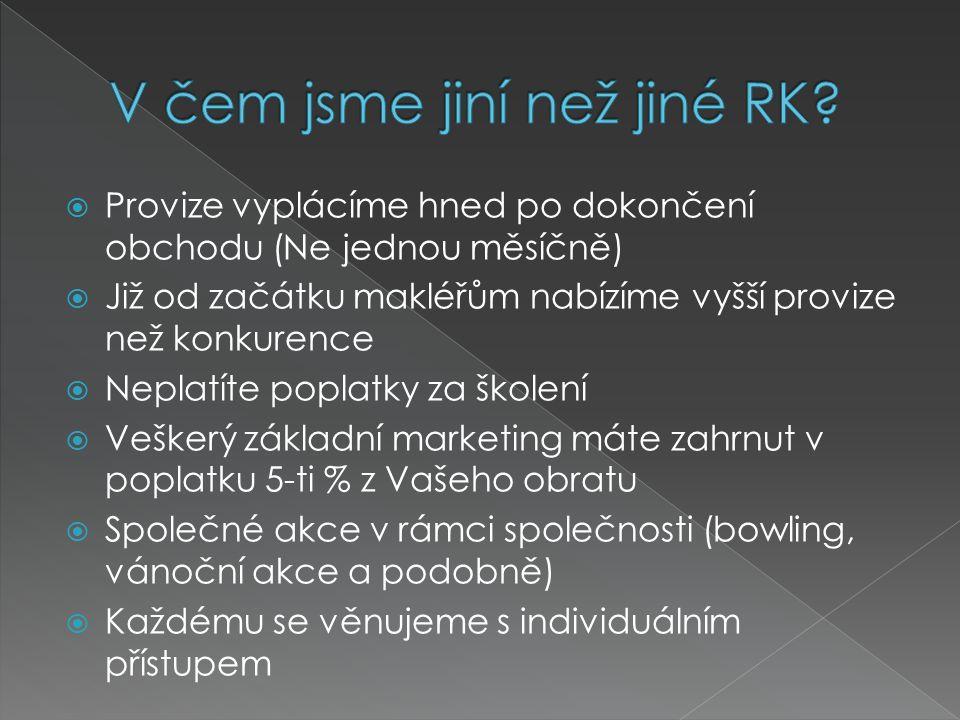  Individuální přístup  Naší prioritou je poptávka klientů  Máme bohaté portfolio nemovitostí  V rámci Prahy se specializujeme na všechny druhy nemovitostí:  Byty  Rodinné domy  Celé budovy  Kancelářské prostory  Obchodní prostory  Restaurace  Novostavby  Developerské projekty